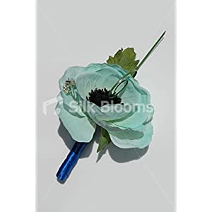 Duck Egg Blue Anemone Poppy Wedding Buttonhole w/ Crystals 3