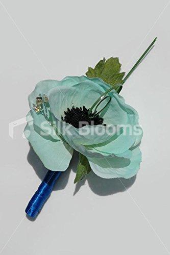 Duck Egg Blue Anemone PoppyウェディングButtonhole w /クリスタル B00S2YYR6Y