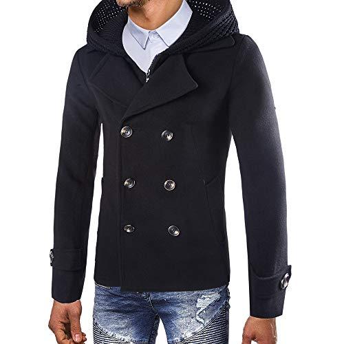 Toimothcn Mens Full Zipper Hooded Jacket Winter Warm Button Coats Overcoat Slim Fit(Black,XXXL)