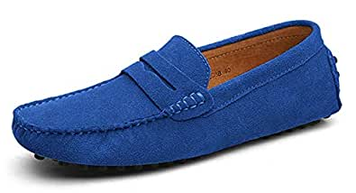 Eagsouni Men's Loafers Driving Boat Shoes Slip On Casual Moccasins Penny Suede Leather Flats Slippers Dress Shoes Fashion Blue Size: 6