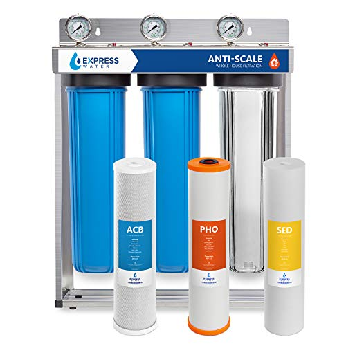 Express Water Whole House Water Filter - 3 Stage Anti Scale Home Water Filtration System - Sediment, Phosphate, Carbon Filters - includes Pressure Gauges, Easy Release, and 1