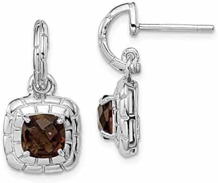 18mm x 12mm Amethyst and Diamond Earrings .03cttw Mia Diamonds 925 Sterling Silver