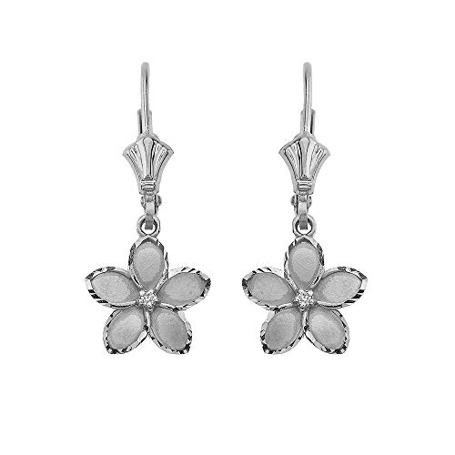 (Dainty 14k White Gold Hawaiian Flower Plumeria Diamond Dangle Earrings (1.0
