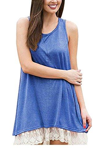 Lace 1 Tunic Tank Loose Sleeveless Flowy Women's Trim Jaycargogo Dress Fit F0Spqx