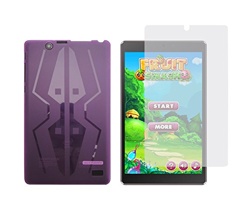 iShoppingdeals - Purple TPU Rubber Cover Case + Clear Screen Protector for Nextbook Ares 8 Tablet (Model NXA8QC116 Only) - Nextbook 8 Tablet Gel Case