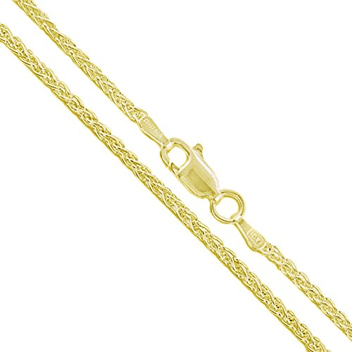 - 22k Yellow Gold Plated Sterling Silver Wheat Chain 1.9mm Solid 925 Italy New Foxtail Spiga Necklace 36