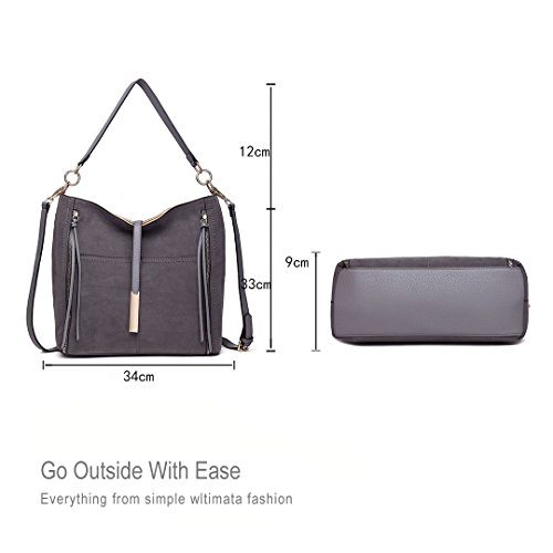 Hobos Handbag Crossbody Bag Suede Grey Pu Miss 1715 Shoulder Lulu Faux Women Leather UFw4EI