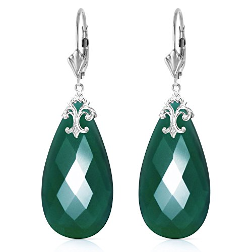 ALARRI 14K Solid White Gold Leverback Earrings with Briolette 31x16 mm Deep Green Chalcedony