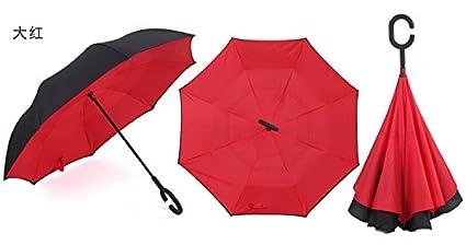 PANNN Doble capa de paraguas plegable inversa de TIGER, paraguas invertido con C-manos