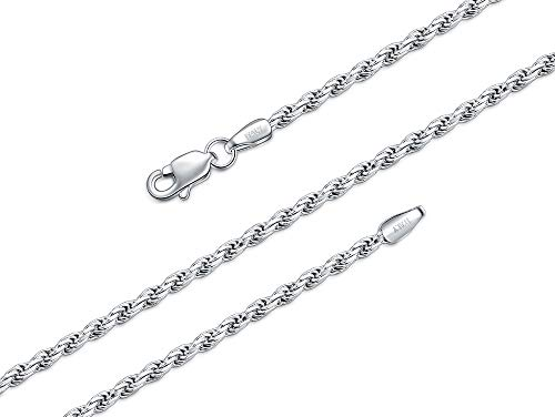 22 Inch Diamond Cut Rope - BORUO 929 Sterling Silver Diamond-Cut Rope Chain Necklace, 2.2mm Solid Italian Nickel-Free Lobster Claw Clasp 22 Inch