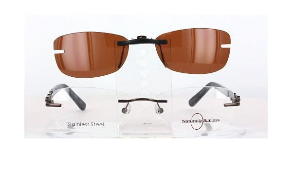 Amazon.com: NATURALLY RIMLESS NR351-51X17 POLARIZED CLIP-ON ...