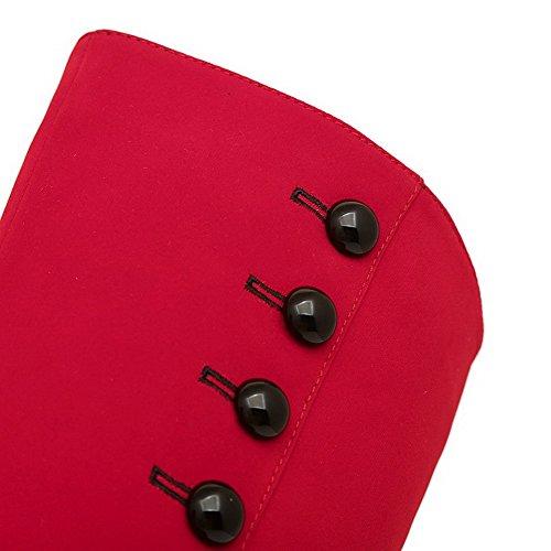 AgooLar Damen Rund Zehe Blend-Materialien Mitte-Spitze Hoher Absatz Stiefel Rot-Schnalle