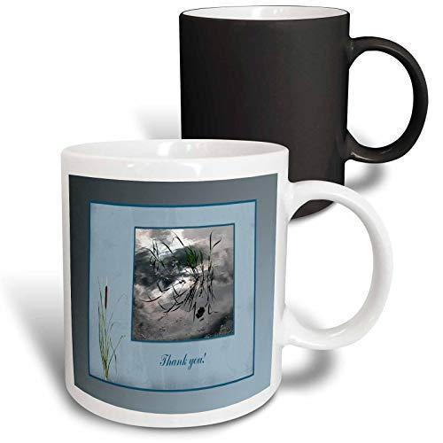 3dRose Beverly Turner Thank you Design - Thank you, Frog in a Pond Photo, Cattails Accent, Blue Frame - 11oz Magic Transforming Mug (mug_286999_3)