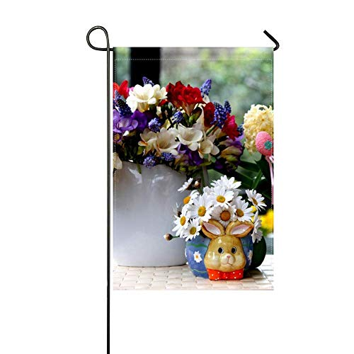 ZLU Garden Flag Daisies Hyacinths Muscari Freesia Flowers Bouquets Beauty 12x18 inches(Without (Freesia Bouquet)