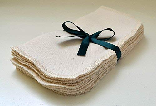 1 Ply Organic Flannel Washable Baby Wipes 8 x 8 Inches 10 Pack Sewn with Matching Cotton Thread ()