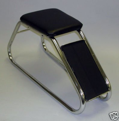 SHOE FITTING STOOL CHROME WITH BLACK PADDED SEAT