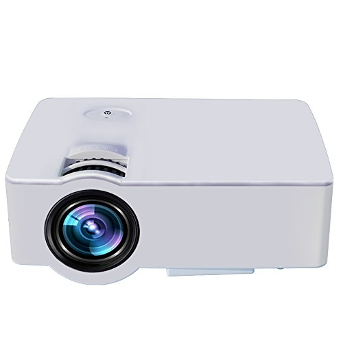 Home Video Projector LESHP E08 LCD Family Cinema Projector Portable Multimedia 1500 Lumens for Home Entertainment ,Party and Games (White)
