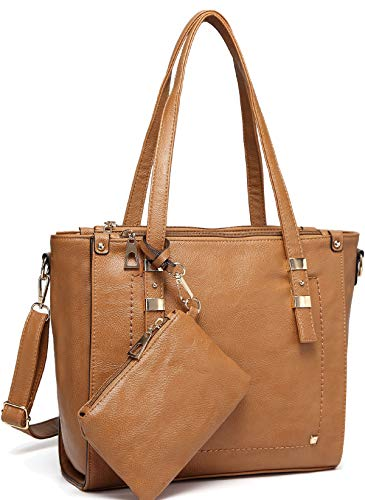 (Tote Bag for Women,VASCHY Faux Leather Top Handle Triple Compartment Satchel Work Handbag Purse for Ladies with Little Pouch Camel)