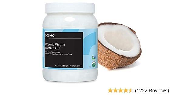Amazon Brand - Solimo Organic Virgin Coconut Oil, Unrefined, Non-GMO, 54 Fl Oz