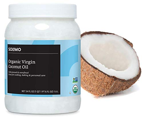 Amazon Brand - Solimo Organic Virgin Coconut Oil, Unrefined, Non-GMO, 54 ounce