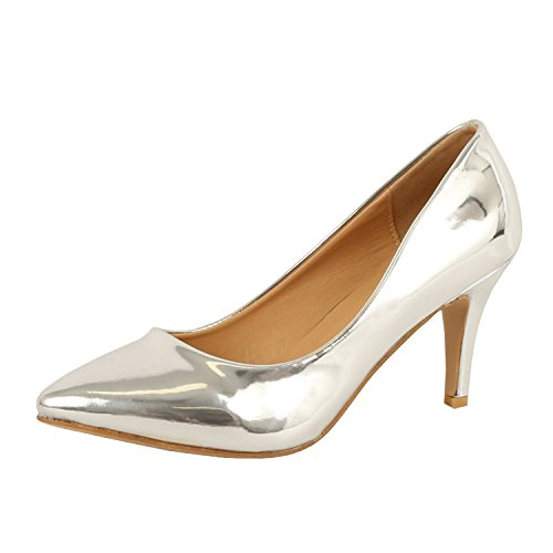 Guilty Shoes Womens - Embellished Classic Elegant - Closed Pointy Toe Low Kitten Heel - Dress Heeled Sandal Pump (7.5 M, 16-Silver1-Metallic) (Classic Metallic Pumps)