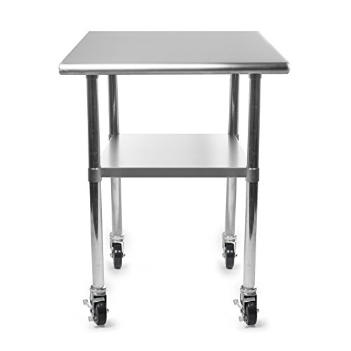 Gridmann nsf stainless steel commercial kitchen prep work table w 4 casters wheels 30 in - Commercial kitchen tables on wheels ...