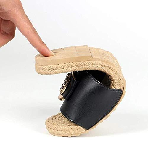 D'été Chaussures Tongs Pour Romaines Antidérapantes Fermé Bout Femmes Wedge Bas À Plates Noir Qiusa Sandales Scintillants Tan Talons Plateforme Gladiator Pantoufles AgqTqw