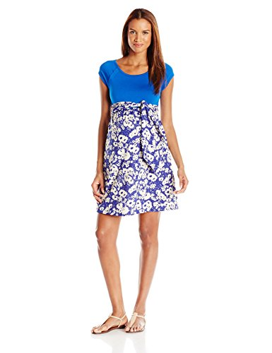 - Maternal America Women's Maternity Front Tie Dress, Royal Blue/Abstract Daisy, Small
