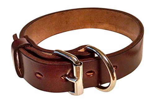 Pitbull & Large Breeds Leather Dog Collar - Free Personalization - Pet Training (Mahogany, 1.5