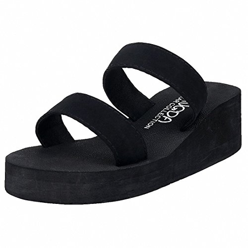 Leisurely Pace Summer Black Wedge Slipper for Women Girl Double Strap Platform Sandals ()