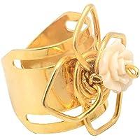 Anel Dourado Flor Com Rosa De Resina