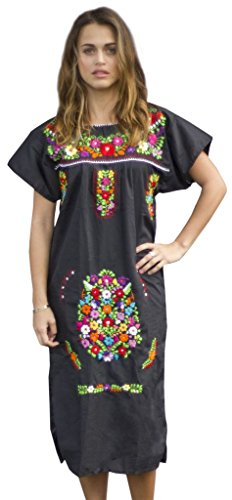 Liliana Cruz Embroidered Mexican Peasant Dress (Black Size Small)