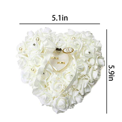 mossty Wedding Ring Pillow,Rose Heart Ring Box Wedding Accessories White Ring Pillow Wedding Lace Crystal by mossty (Image #2)