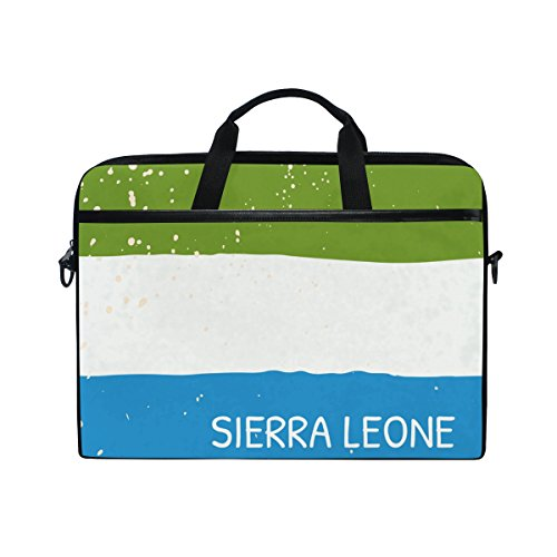 (Distressed Sierra Leone Flag 14 Inch Laptop Shoulder Messenger Bag Case Sleeve Briefcase with Handle for Women Men)