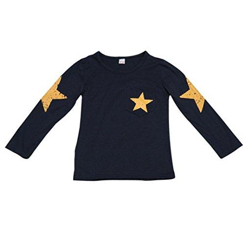 3pcs Kids Baby Boys Girl Long Sleeve Star T-shirt Tops Pants Hat Outfit Set(Blue) - 9