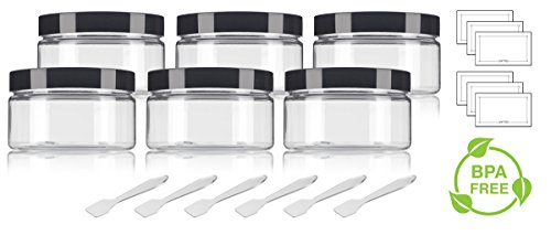 Clear PET Plastic (BPA Free) Refillable Low Profile Jar - 4 oz (6 pack) + Spatulas and Labels
