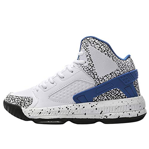 (Basketball Shoes,ONLYTOP Men's High Upper Stylish Sneakers Breathable Sports Shoes Anti Slip Lightweight Walking Shoe Blue)