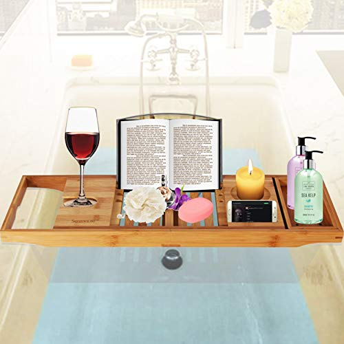 Luxury Bamboo Bathtub Caddy Tray - Adjustable Natural Wood Bath Tub Organizer with Wine Holder, Cup Placement, Soap Dish, Book Space & Phone Slot for Spa, Bathroom & Shower - SereneLife SLBCAD20