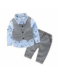 TONSEE 3 Pcs/Set Kids Boys Grey Waistcoat+Long Pants+Shirts