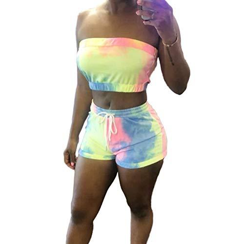 (lumiyo Womens Bodycon 2 Pieces Outfit Colorful Tie Dye Crop Bandeau Top High Waist Shorts Pants Tracksuit (Tie dye, M))