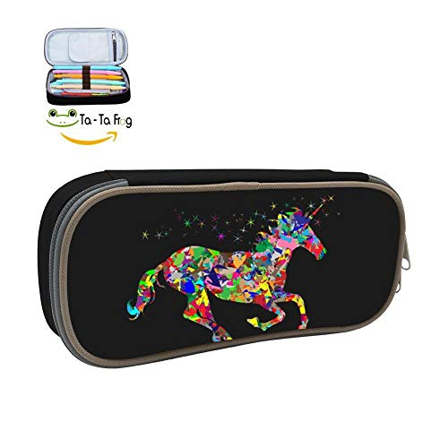 dandanSun Chip Unicorn Pegasus Pencil Case Student Custom Pen Box Stationery Pouch Multilayer Storage Bag Black