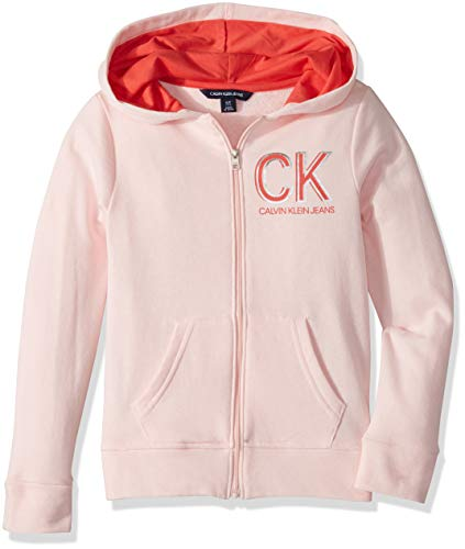 Calvin Klein Big Girls' Logo Zip Front Hoodie, Light Pink Heather, L12/14
