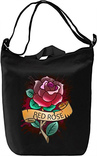Red Rose Borsa Giornaliera Canvas Canvas Day Bag| 100% Premium Cotton Canvas| DTG Printing|