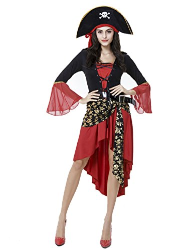 Women Pirate Outfits (Colorful House Women's Halloween Captain Pirate Fancy Dress Costume, Red and Black)
