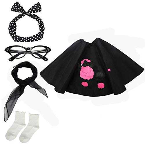 50s Womens Costume Accessory Set - Poodle Skirt, Bandana Tie Headband,Chiffon Scarf, Cat Eye Glasses,Bobby Socks,Black ()