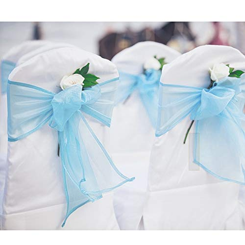 BIT.Fly 100 Pcs Organza Chair Sashes for Wedding Banquet Party Decoration Chair Bows Ties Chair Cover Bands Event Supplies - Turquoise