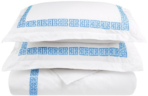 100% Cotton Greek Key Embroidery, 3-Piece Full/ Queen Kendell Duvet Cover Set, White/ Light ()