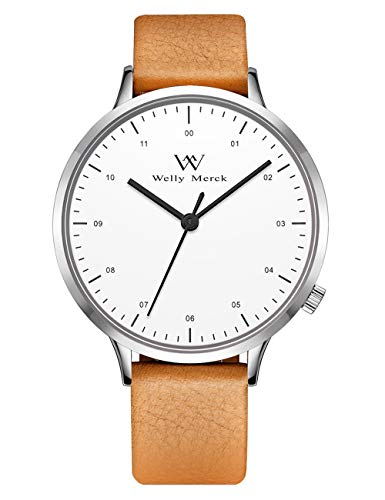 Welly Merck Swiss Movement 42MM Mens Dress Watch 5ATM Waterproof 18mm Interchangeable Leather Band (White face-Brown Band)