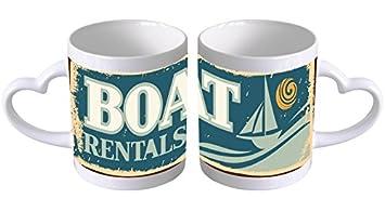 Taza Ceramica Nostálgico Alquiler de barcos Corazon