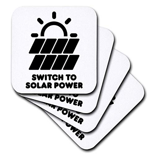 3dRose Carsten Reisinger - Illustrations - Switch to solar power electric power from the sun alternative energy - set of 8 Coasters - Soft (cst_294721_2) by 3dRose